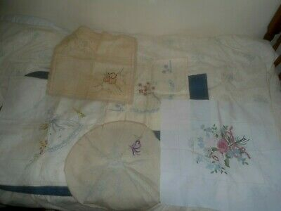 Five vintage  items with hand embroidery transfer to complete