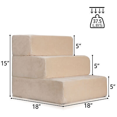 Used Pet Stairs 3 Steps Soft Portable Cat Dog Step Ramp Small Climb Ladder Cover
