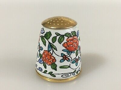 STAFFORDSHIRE Enamel Thimble With Flowers