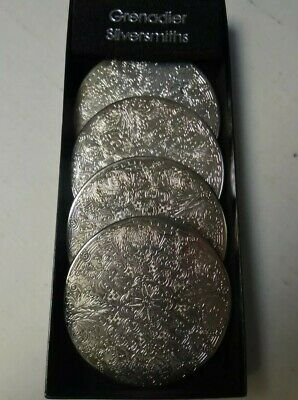 Grenadier Silversmiths Set of Four Silver Engraved  Coasters