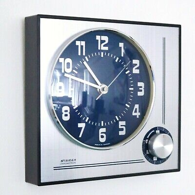 STAIGER Vintage Wall Clock + Timer 1970s MECHANICAL ELETRIC RARE Movement German