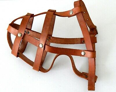 Vintage Tan Leather Dog Muzzle with Studs