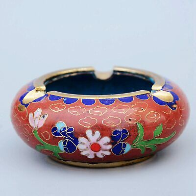 Collectable China Antique Cloisonne Hand-Carved Blooming Flower Precious Ashtray