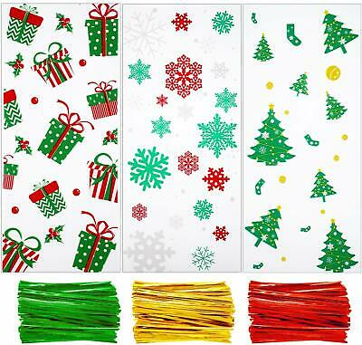 150 Pieces Christmas Cellophane Bags Xmas Snowflake Christmas Tree Treat Bags An
