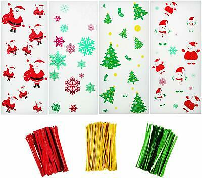 200 Pieces Christmas Cellophane Bags With Snowflake Snowman Santa Claus Christma