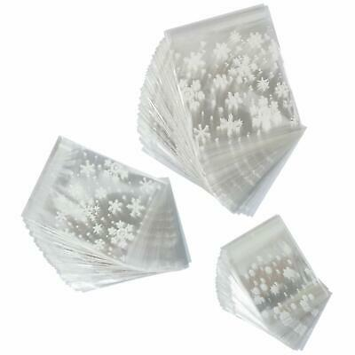 Elcoho 300 Pieces Christmas Snowflake Cookie Treat Bags Candy Bags Cellophane Pl