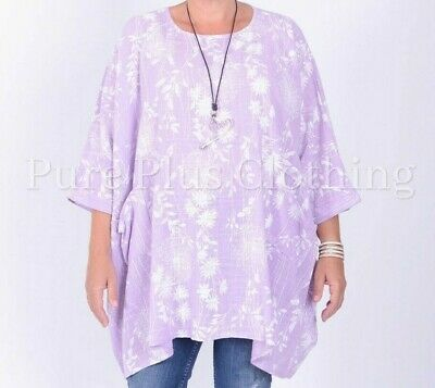 NEW ITALIAN LAGENLOOK TUNIC MUSTARD SEQUINS FLORAL COOL COTTON FIT 16 18 20 22
