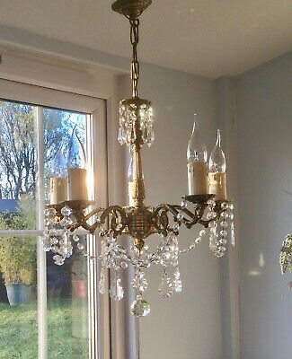 ✨Beautiful✨ French Vintage Gilt Brass & Crystal Glass Chandelier 5 Light