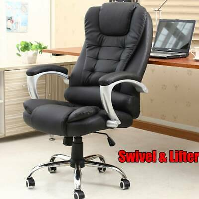 Executive Padded Leather Sport Racing Lift Gaming Office Chair W/ Lumbar Support