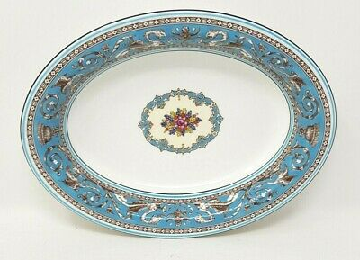 Wedgwood Turquoise Florentine W2714 10 Inch Oval Vegetable Serving Bowl Or Dish