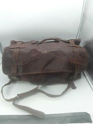 Vintage Brown Oiled Leather Canvas Lined Shoulder Duffel Duffle Bag Carry on