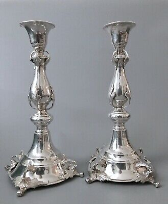 Antique Solid Silver Egyptian Hallmarked Candlesticks Sterling Not Weighted 618g