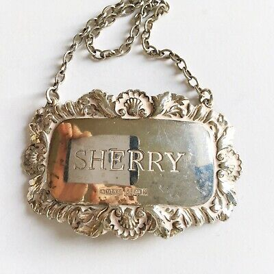 FINE VINTAGE DECORATIVE ENGLISH SOLID SILVER SHERRY DECANTER LABEL Free P&P 13.3