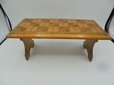 Small carved vintage folding stool, low bench, hand made geometric, initials E D