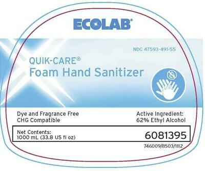 NEW CASE 8 Bottles, Quik-Care 1000ml Foaming Hand Sanitizer by Ecolab 6081395