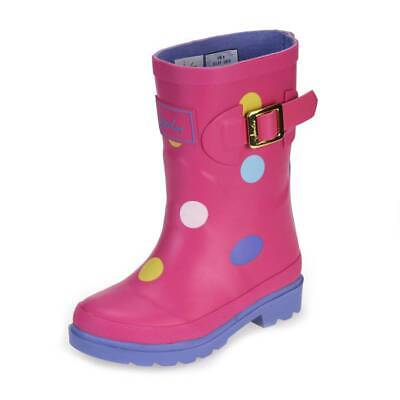Joules Neon Candy Spot Girls Pink Wellington Boot size uk kids children buckle