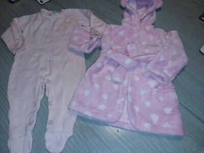 Baby Girls. .Dressing Gown + Sleepsuit...age 6-9 Months..Le Top Bebe..George..