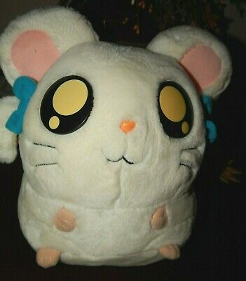 "Hamtaro Bijou Ham Ham White Hamster Large 10"" Plush 2002 Hasbro Stuffed Toy"