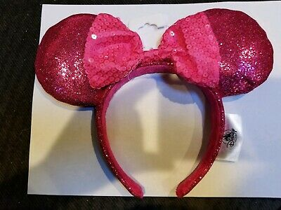 NEW Disney Parks Minnie Mouse Sequin Bow Ears Imagination Pink Headband 2019