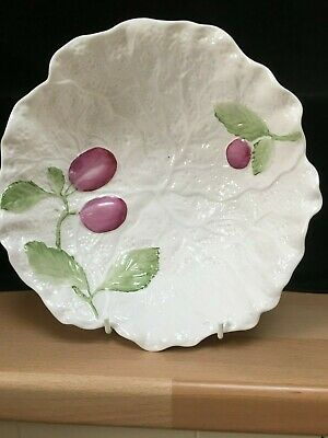 Caverswall England White Cabbage Leaf China Bowl With Hand Painted Fruit