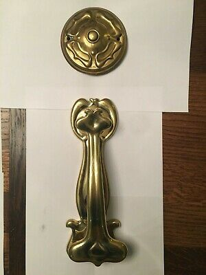 Art Nouveau brass bell push and door knocker