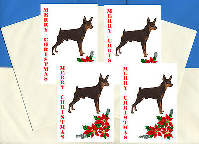 MIN PIN TWO DOGS MINIATURE PINSCHER DOG BIRTHDAY GREETINGS NOTE CARD