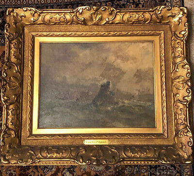 Charles P Appel Painting Listed American Tonalist Artist Boat Harbor Waves Frame
