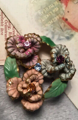 Stunning Antique Art Deco 20s Austrian Crystal Rolled Gold Enamel Flower Brooch