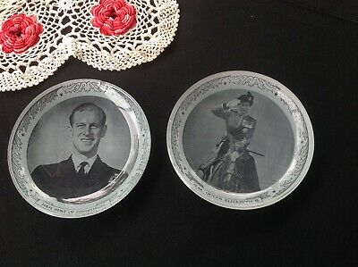 Prince Phillip and Queen Elizabeth plates - glass - black and white