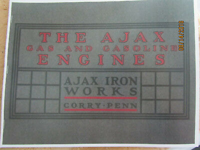 1906 Ajax Iron Works Gas Engine Catalog Gas & Gasoline Engine Makers