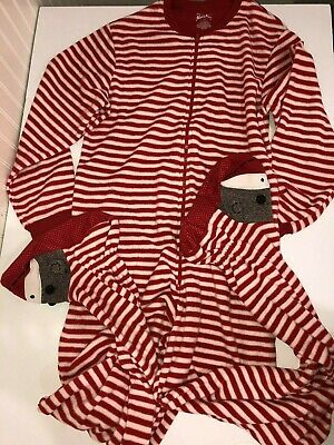 Nick & Nora Sock Monkey Womens XL Footed Footie One Piece Pajamas Red Striped
