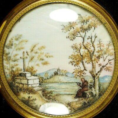 Antique French Hair Art Mourning Memento Miniature Portrait Monk & Cross