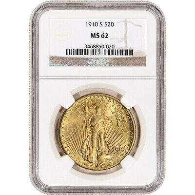 1910-S US Gold $20 Saint-Gaudens Double Eagle - NGC MS62
