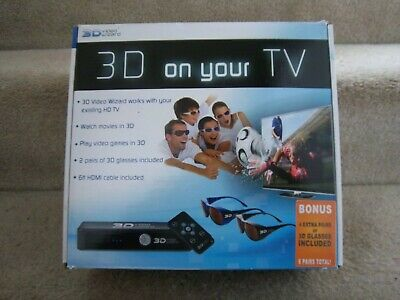 3D VIDEO WIZARD CONSOLE WITH 6 PAIR OF 3D GLASSES!  4 Adult 2 Kids Children!