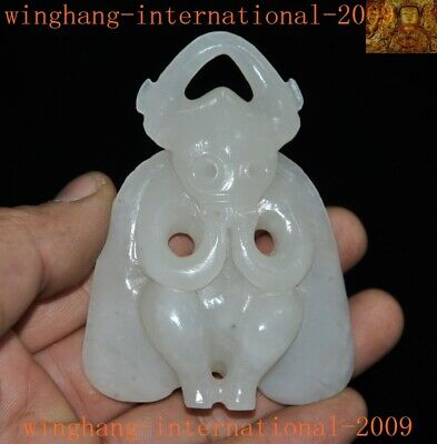 Rare China Hetian White jade fine carved Hongshan Culture Helios sun god statue