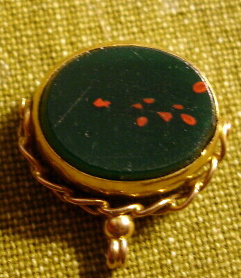Vintage .375 Gold Swivel Bloodstone Medal/Fob
