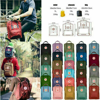 7/16/20 L Fjallraven Kanken Outdoor Travel Bag Handbag Waterproof Sport Backpack