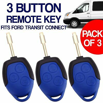 3X For Ford Transit Vans Blue 3 Button Remote Key Fob Case And Blade Uk Sell