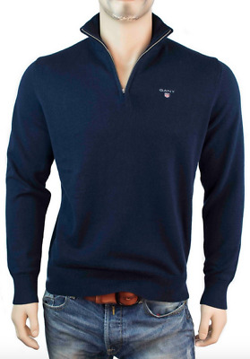 CLEARANCE SALE Gant Mens 1/4 Zip Neck Sweaters / Jumpers In Black & Navy Blue