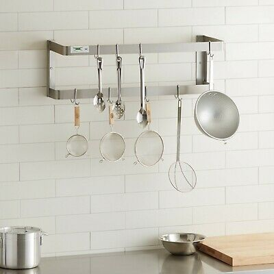 """36"""" 304  Stainless Steel Wall Mounted Double Line Pot Rack with 18 Galvanized"""