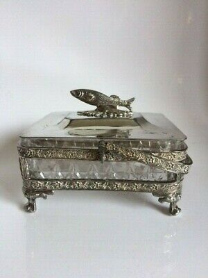 Antique Victorian A1 Silver Plated and Cut Glass Sardine Dish c1878