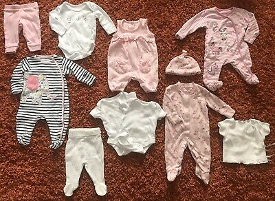 Bundle Of Baby Girls Clothes Newborn Upto A Month Sizes. Including Next