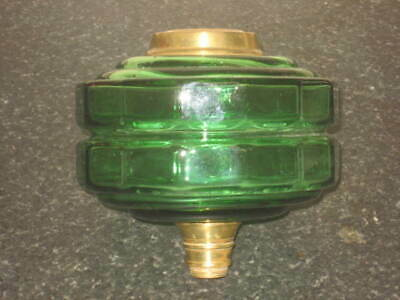 Fine Large  Antique   Green Glass Oil Font