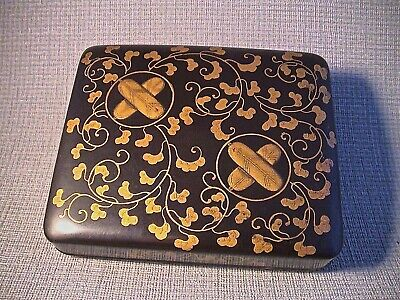 Rare 19th C Japanese Lacquer Miniature Artist Box with Takanoha Mon