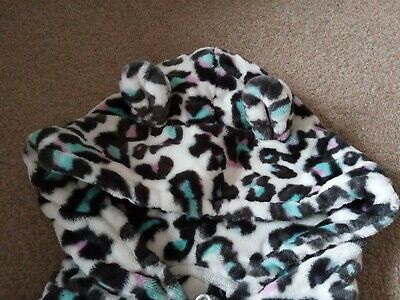 Next Girls age 9 pyjamas Leopard Print All In One hooded Soft Pink Green Spots