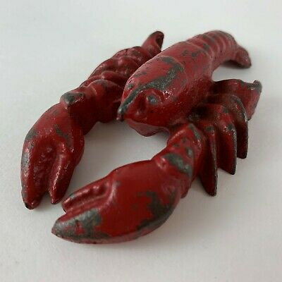 """Vintage Hubley #480 Cast Iron Red Lobster Paperweight Figurine 3.5"""""""