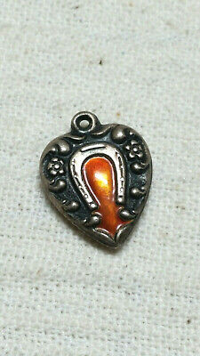 Exquisite Antique Victorian Enamel Horseshoe Puffy Heart Sterling Silver Charm