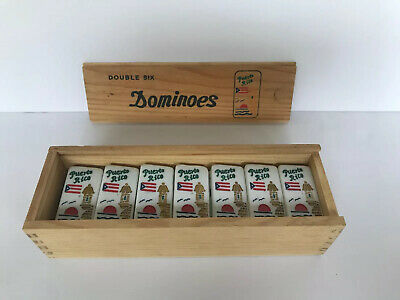 Puerto Rico Dominoes Set with Original Wooden Box Double Six Boricua board game