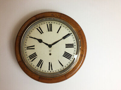 American Ansonia Wall Clock circa 1890 Oak with Brass Bezel Excellent Condition