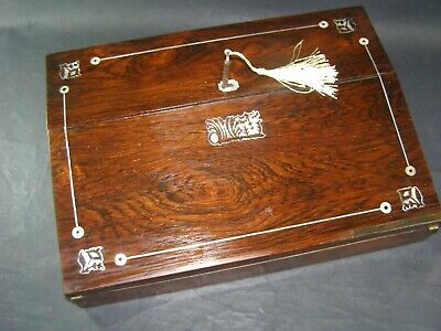Antique Rosewood Writing Slope Working Lock & Key c1870 Inlaid Mother Of Pearl